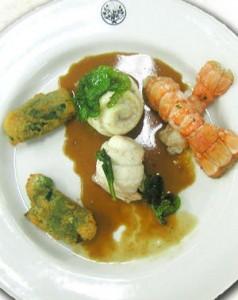 Delicias de lenguado, ostras y cigalas
